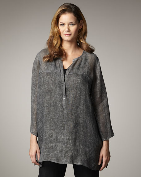 Round-Neck Linen Tunic, Women's