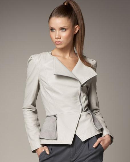 Britney Peplum Leather Jacket