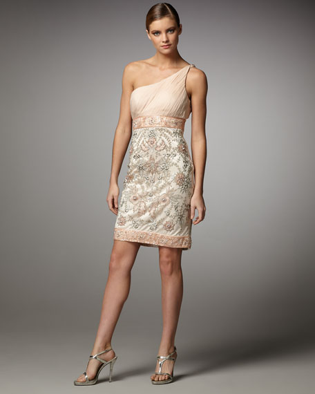 One-Shoulder Beaded-Skirt Combo Dress