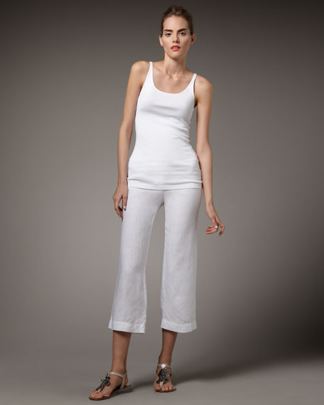 Heavy Linen Cropped Trousers