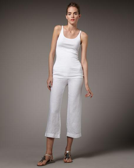 Heavy Linen Cropped Trousers, Women's