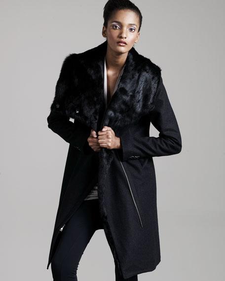 Crombie Fur-Collar Coat