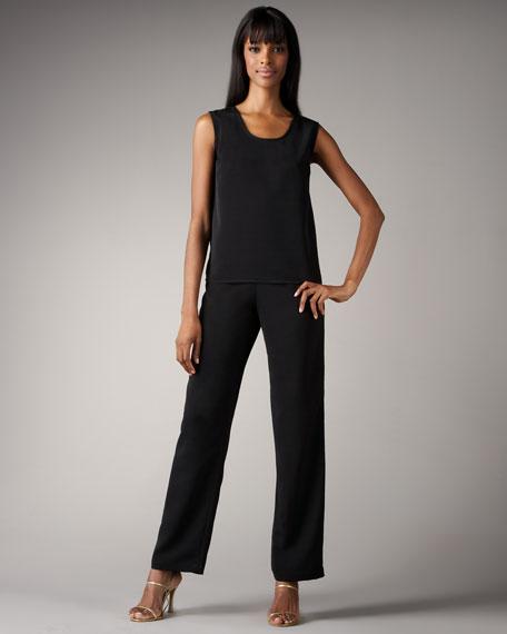 Shantung Straight-Leg Pants