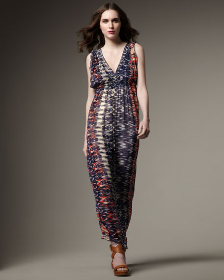 Ornella Ikat-Print Maxi Dress