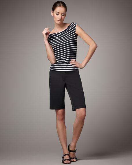 Waxed Bermuda Shorts, Black