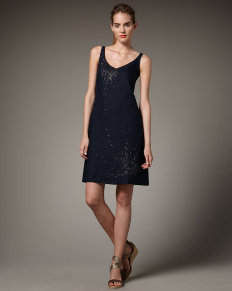 Linen Sequin V-Neck Dress
