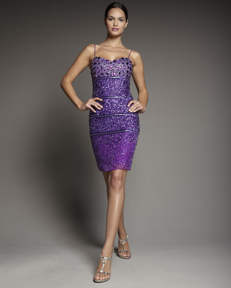 Sequined Spaghetti-Strap Dress
