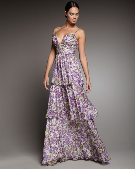 Floral-Print Tiered Gown