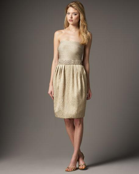 Metallic Brocade-Skirt Dress