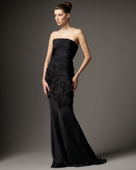 Ruched Flower-Applique Gown