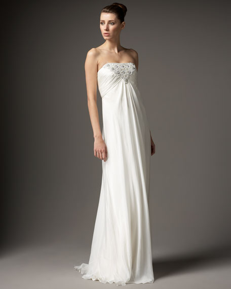 Strapless Beaded-Bust Gown