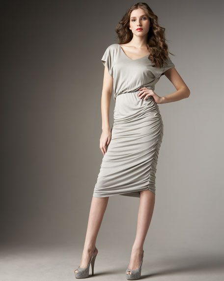 Mid-Length Ruched Jersey Dress