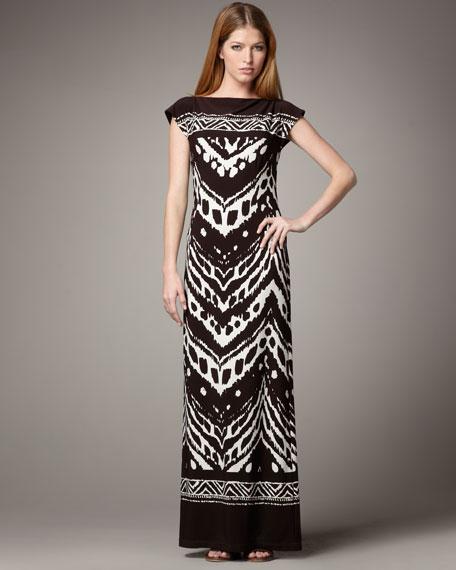 Tribal-Print Maxi Dress