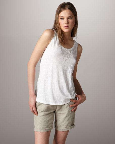 Linen Front-Pleat Shorts, Women's