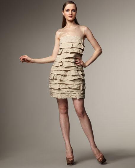 Illusion-Neck Taffeta Dress