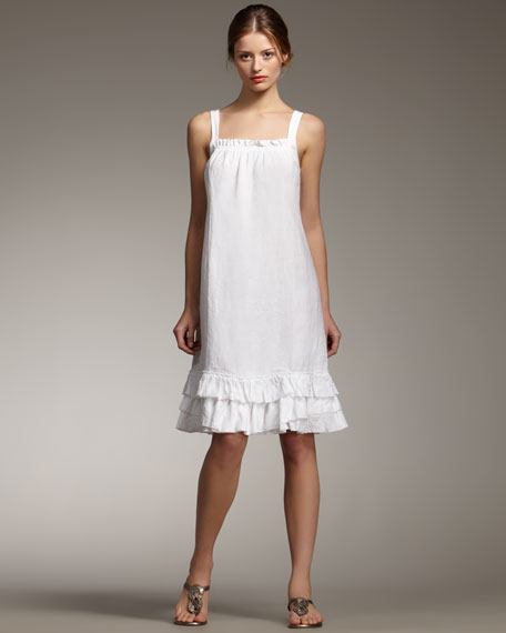 Ruffled Linen Dress, Petite