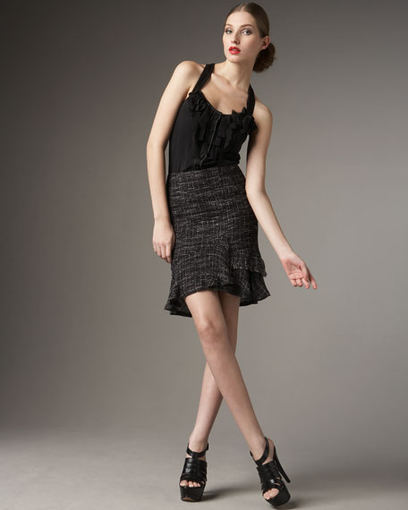 Follow Me Tweed Skirt, Black/Cream