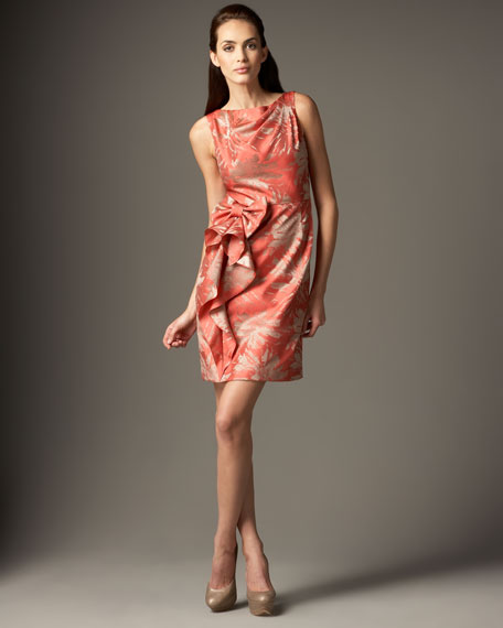 Jacquard Bow-Detail Sheath Dress