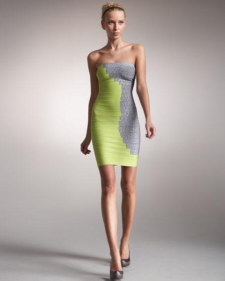 Two-Tone Strapless Bandage Dress