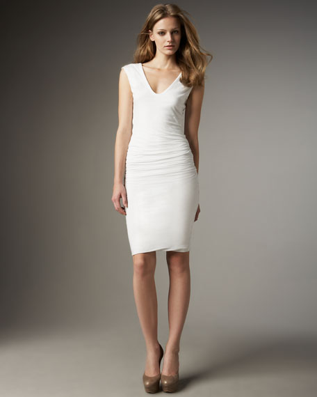 Cap-Sleeve Ruched Dress, White