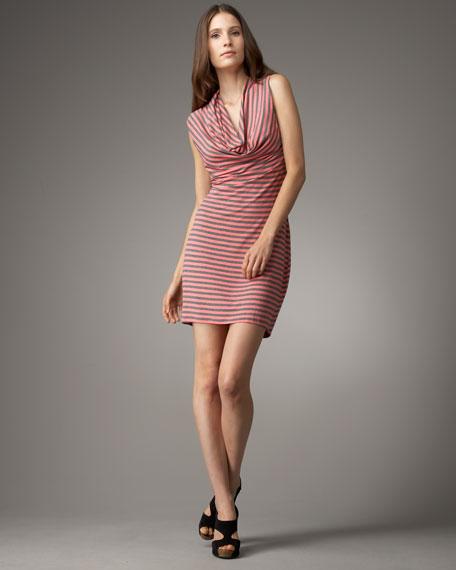 Bellah Striped Cowl-Neck Dress