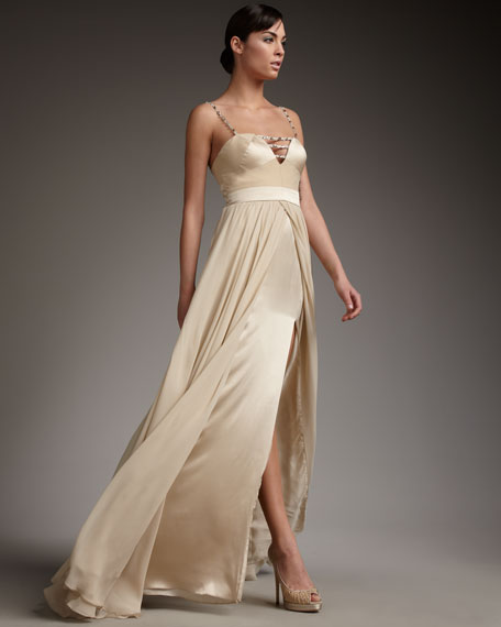 Beaded-Strap Flyaway Gown