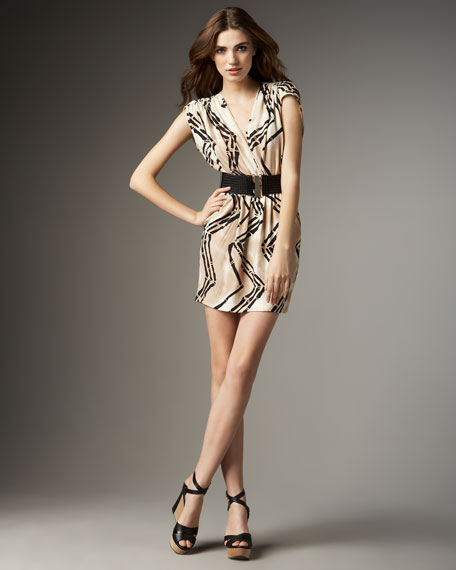 Bamboo-Print Belted Dress