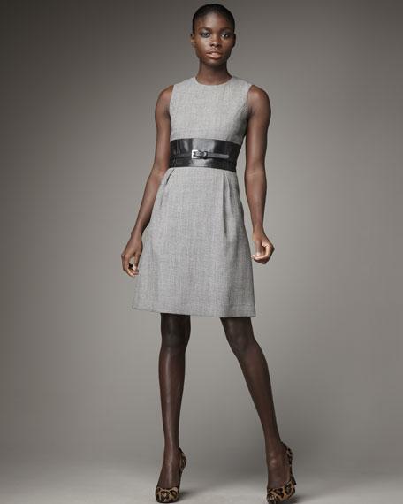 Leather-Waist Dress