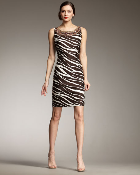 joselle zebra-print dress
