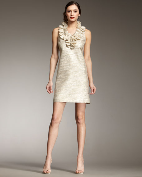 lucille ruffle-front shift dress