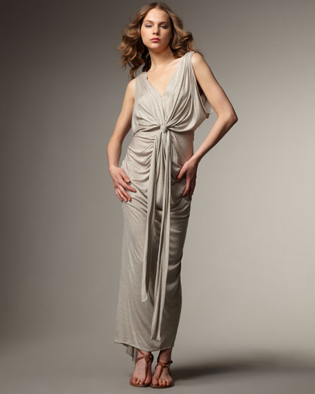 Draped Knot-Waist Maxi Dress