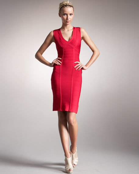 V-Neck Bandage Dress, Rose Red