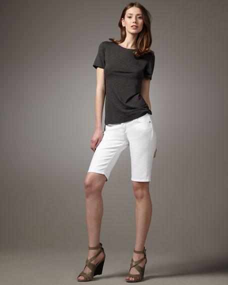 Bermuda Knee Shorts, White