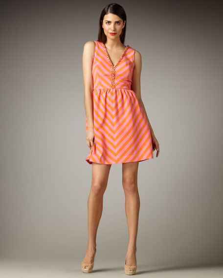Nadia Striped V-Neck Dress