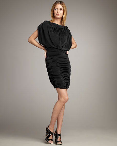 Blouson Shirred-Skirt Dress