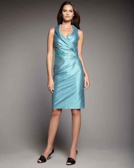 Shawl-Collar Wrap-Front Dress