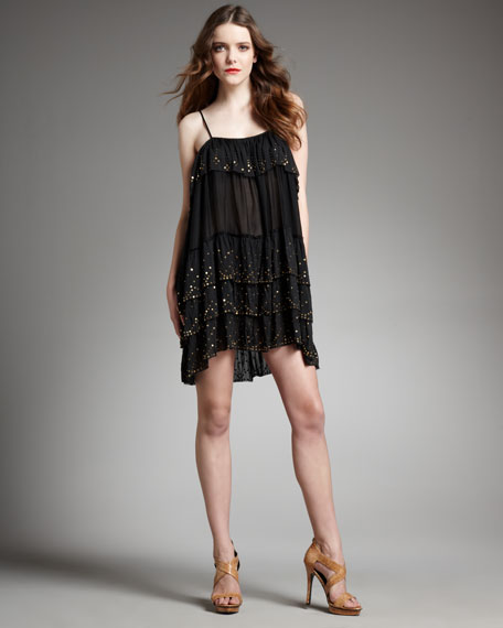 Gold-Speckle Tiered Dress