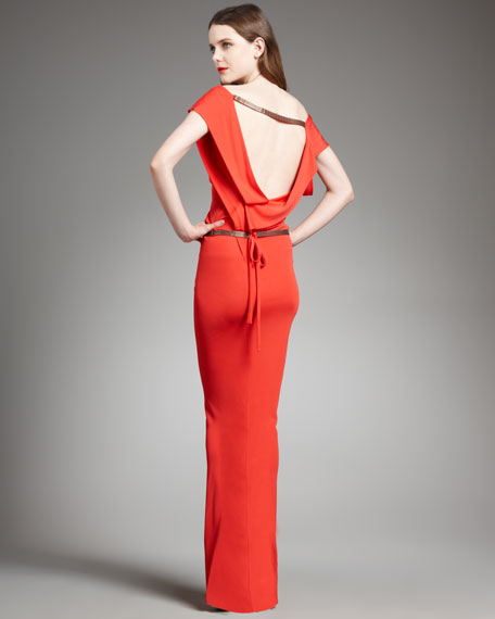 Draped-Back Long Dress