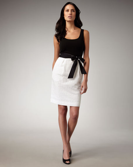 Belted Cutout Combo Dress