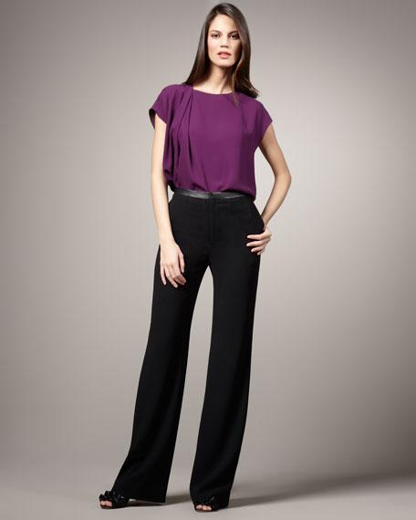 Leather-Trim Pants