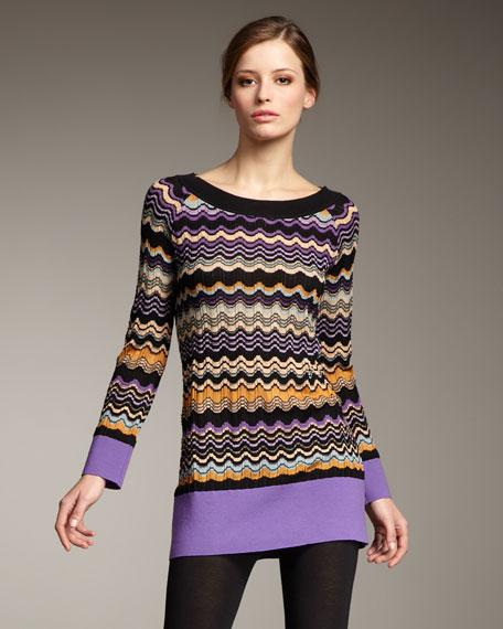 Wavy-Stripe Sweater Tunic