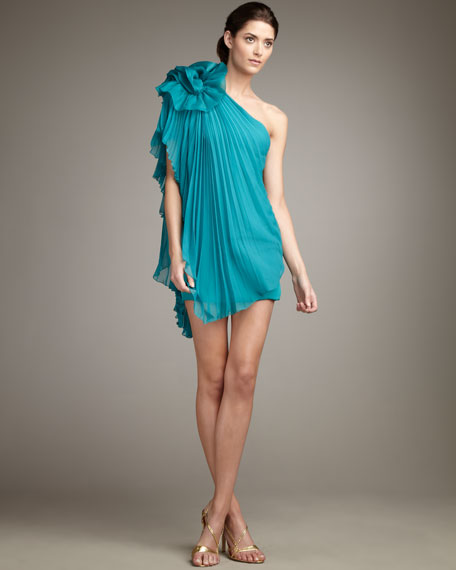 One-Shoulder Plisse Drape Dress
