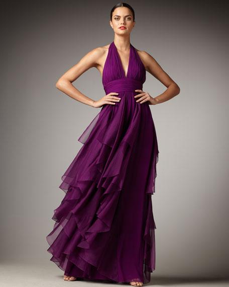 Cascading Halter Gown