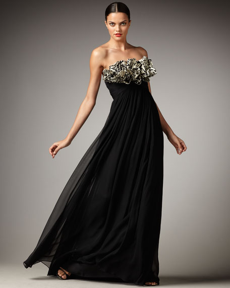 Ruffle-Bodice Strapless Gown