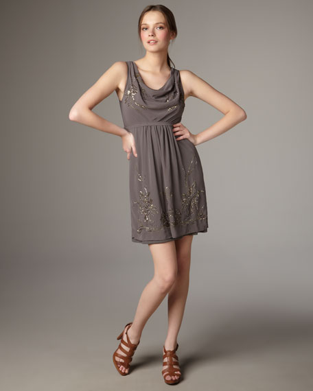 Gray Beaded Cowl-Neck Dress