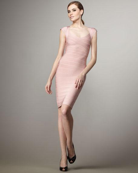 Cap-Sleeve Bandage Dress, Petal-Pink