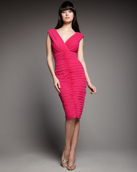 Double-V Ruched Cocktail Dress