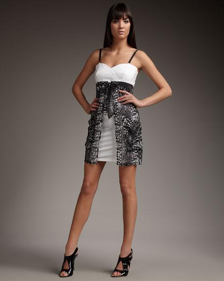 Tie-Front Combo Dress