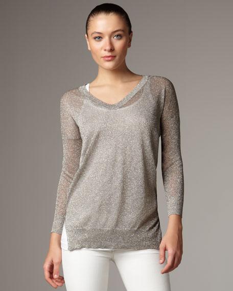 Sheer Metallic V-Neck Sweater