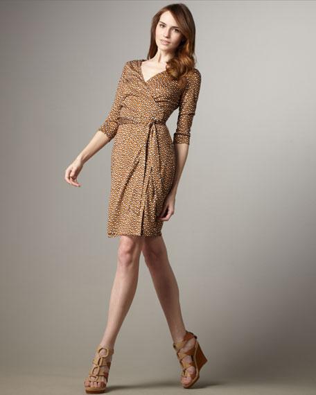 Julian Three-Quarter Sleeve Print Wrap Dress